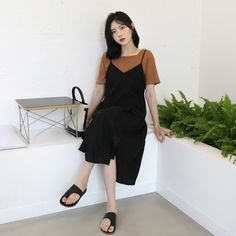 Cami Dress Outfit, Dress Skirt, Dress Outfits, Girl Outfits, Dresses, Korean Dress, Asymmetrical Design, Korean Fashion, Skirts