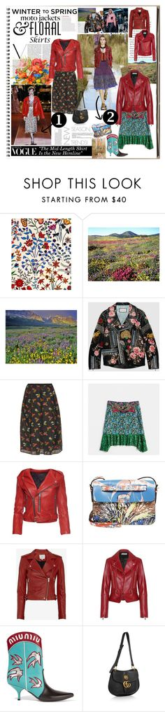 """Style Equation: Moto Jacket + Floral Skirt"" by ccclem ❤ liked on Polyvore featuring Liberty Art Fabrics, Victoria Beckham, Louis Vuitton, Gucci, TIBI, Erdem, Coach, Marc Jacobs, Valentino and IRO"