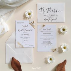 Luxe gold and cream birthday invitation cards, stationery design, gold and white marble.  #goldandwhite #birthdayinvites #luxestationery