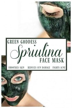 Green Goddess Spirulina Face Mask -This mask is a oh so lovely shade of green but the lovely hue is not the only reason to love this green goddess spirulina face mask! Spirulina is a super food for your diet AND your skin! #spirulina #facemask #herbalfacemask #greenbeauty #greengoddess Best Face Mask, Diy Face Mask, Face Masks, Diy Skin Care, Skin Care Tips, Organic Skin Care, Natural Skin Care, Natural Health, Beauty Care