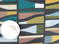 Tablecloth black brown green blue grey mustard yellow abstract table cloth,also runner , napkins , pillow , curtain available,great GIFT by Dreamzzzzz on Etsy https://www.etsy.com/listing/160425589/tablecloth-black-brown-green-blue-grey