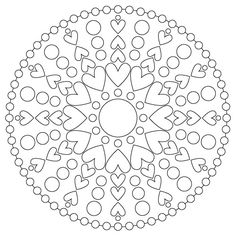 heart mandala - non commercial use only Heart Coloring Pages, Mandala Coloring Pages, Colouring Pages, Adult Coloring Pages, Coloring Books, Embroidery Patterns, Quilt Patterns, Drawing Sheet, Circular Pattern