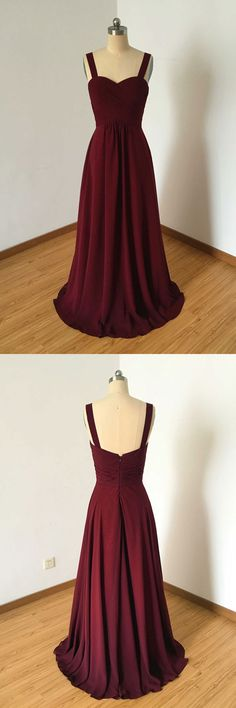 Simple Burgundy Chiffon Prom Dress,A Line Long Evening Dress,Straps Bridesmaid Dresses