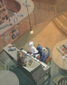Katzen am Klavier, Kinderbuchillustration Bernhard Oberdieck