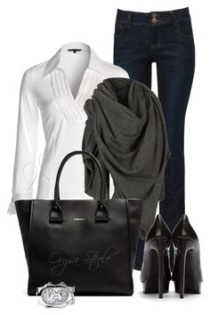 """""""Modern Classic"""" by orysa ❤ liked on Polyvore featuring NIC+ZOE, AllSaints, See by Chloé, Yves Saint Laurent, Philip Stein and modern"""