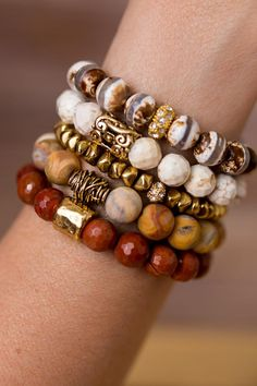 Neutral Bracelet Stack Add a touch of nature to any outfit with this unique stack of beaded bracelet designed and handmade in the South featuring semi-precious gemstones and gold accents. Each stack is carefully put togethe - Best Stone Jewelry I Love Jewelry, Jewelry Design, Jewelry Making, Making Bracelets, Stack Bracelets, Bangles, Men Bracelets, Memory Wire Bracelets, Pandora Bracelets