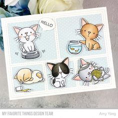 Handcrafted Cards Made With Love: MFT / JUNE RELEASE COUNTDOWN DAY 5 Lawn Fawn Stamps, Cat Cards, Animal Cards, Cute Crafts, Scrapbook Cards, Cardmaking, Paper Crafts, Crafty, My Favorite Things