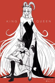 """""""The King & Queen : Lucifer and Lilith Wanted to make that fashion shoot-esque poses for them Monster Hotel, H Hotel, Alastor Hazbin Hotel, Hotel Trivago, Vivziepop Hazbin Hotel, Fan Art, Best Hotels, Anime Couples, Character Design"""