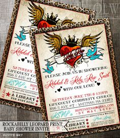 Rockabilly Baby Shower Invitation- tattoo winged heart and leopard Print design - digital printable or printed