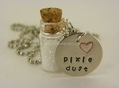 Pixie Dust Glass Jar Necklace Hand Stamped by WhisperingMetalworks, $16.00