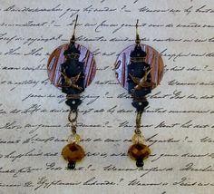 "LONG DANGLE EARRINGS-Steampunk Earrings-Fishhook-4 1/2"" Long-Copper & Black-Shabby Chic-Birds-Hinges-Czech Glass-Wire Wrapped-Fun-Playful by TheShabbyJean on Etsy https://www.etsy.com/listing/259482078/long-dangle-earrings-steampunk-earrings"