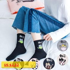 New cotton women socks harajuku winter cat face pattern in tube socks summer personality chaussette femme calzini