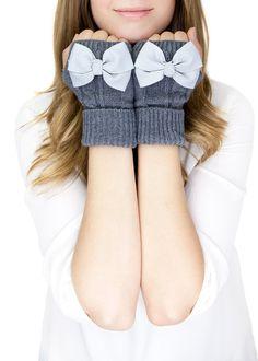 DARK GRAY MITTENS short fingerless knit gloves by gertiebaxter, $32.50