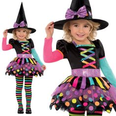 New Amscan Kids Halloween Miss Matched Witch Girls Fancy Dress Costume (3-4 Years): Amscan: Amazon.co.uk: Toys & Games