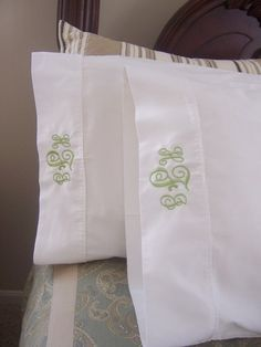 How indulgent are these? Set of 2 monogrammed pillowcases by sewcialcharm on Etsy. $24.99 Other fonts available.