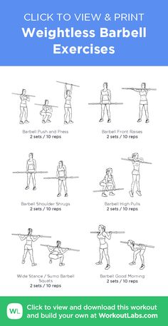 Weightless Barbell Exercises –click to view and print this illustrated exercise plan created with #WorkoutLabsFit