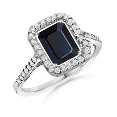 emerald cut antique rings | Emerald Cut Sapphire Round Diamond Vintage Ring - | Engagement Rings