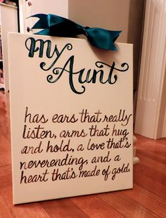 Mother's Day Aunt GIft Quote Custom Canvas Sign