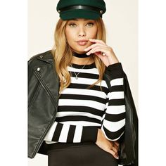 Forever21 Ribbed Stripe Sweater (1,000 INR) ❤ liked on Polyvore featuring tops, sweaters, striped sweater, ribbed crop top, stripe crop top, cropped sweater and striped top