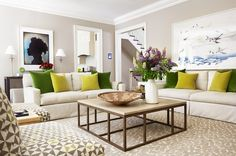 """Transitional Living Room by Anne Hepfer Designs Inc.Designer secret: """"The oversized coffee table as the center component helps ground the room. The cube ottomans under the Parsons console are perfect for pulling up as extra seating when needed."""""""