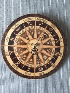 Astrology Wall Clock Pyrography Art on Birch Plywood Zodiac Horoscope by LarisaPyrography on Etsy