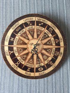 Astrology Wall Clock Pyrography Art on Birch Plywood Zodiac Horoscope by LarisaPyrography on Etsy