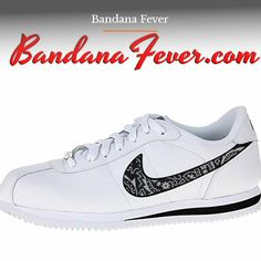 7a59ee28a6a Custom Red Bandana Nike Cortez Leather White Black
