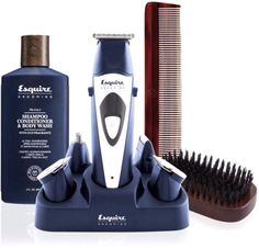 Esquire Men's Trimmer Grooming Set. Complete collection of men's grooming products. Trimmer - Detailing T-blade - Wide blade - U-blade - Nose hair trimmer and shaver - 5 comb attachments - Power rechargeable base and charger - Comb, cleaning brush and blade oil 3 fl. oz. 3-in-1 Shampoo, Conditioner and Body Wash Men's grooming brush The Classic straight comb Manufacturer's 2-year limited warranty
