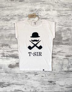 T-SIR brand design white. 100% made cotton.  Bowler hat, Mustache, Smoking pipe, Hipster style, hipster t-shirt, camiseta hipster
