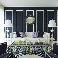 Greg Natale - living rooms - white and navy blue, navy blue living rooms, contemporary walls, navy blue paint, white wall borders,