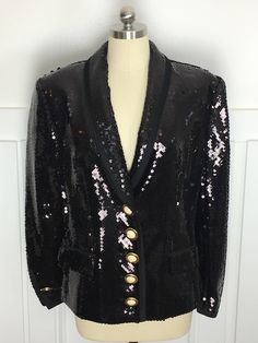 Watch the #goldenglobes. Just sayin... in my #etsy shop: Louis Feraud Absolutely Stunning 1980s / 1990s Black Sequined Cocktail Formal Blazer   Sz 8 www.lipstickgirlvintage.com #louisferaud #vintagelouisferaud #tuxedojacket #vintagetuxedojacket #sequinedtuxedojacket