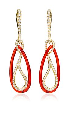 18K Yellow Gold, Carnelian And Colorless Diamond Paisley Drop Earrings by Nicholas Varney Spring-Summer 2015 (=)