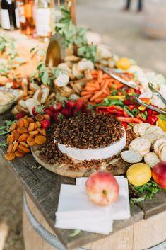 Charcuterie Graze Table, outdoor wedding inspiration. Cocktail hour appetizers, food, wedding eats, cheeseboard