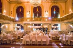 Omni William Penn Classic Elegance Wedding | The Event Group Weddings | Pittsburgh, All White Wedding, Candlelit Balcony, Grand Ballroom