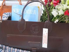 brown leather tote made in USA