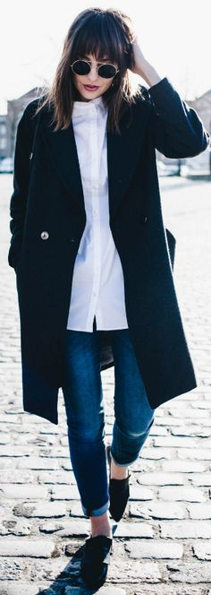 Polienne + awesome tomboy style + collarless white shirt + cropped denim jeans + black overcoat  Coat: H&M, Shirt/Jeans/Shoes/Bag: Filippa K.