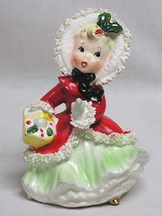 Vintage Christmas Collectible ~ Beautiful Napco Little Girl Shopping Figurine * Circa, 1950's