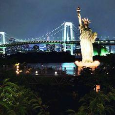 Rainbow bridge in Tokyo by Ineke Huizing Rainbow Bridge, Tower Bridge, Netherlands, Tokyo, Urban, Statue, City, Awesome, Travel