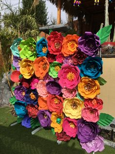 6x6 feet Mexican Fiesta Colorful  Paper flowers Backdrop Photo Booth Party Decoration