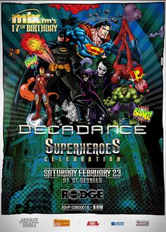 Decadance Superheroes Edition  Poster Design by Kaleido