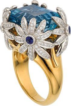 Aquamarine, Diamond, Sapphire, Platinum, Gold Ring, JeanSchlumberger for Tiffany & Co