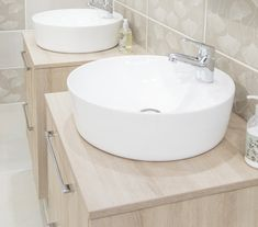 Update your old-school drop-in basin and vanity with a counter-top basin. You still get the storage but with a more modern appeal. Countertops, Vanity, Countertop Basin, Modern, Home Decor, Storage, Bathroom Decor, Sink, Beautiful Bathrooms