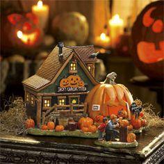 """Halloween Village Display / Department 56 Snow Village Halloween """"Jack's Pumpkin Carving Studio"""""""