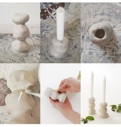 Arts And Crafts Projects, Clay Projects, Diy Clay, Clay Crafts, Clay Candle Holders, Keramik Design, Idee Diy, Diy Candles, Diy Christmas Gifts
