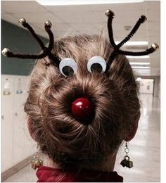 """My friend is a teacher and wore her hair to school like this yesterday! Best holiday hair ever!!"""