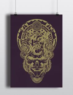 LE Juicy Venom Amethyst and Metallic Gold Skull Screen Print