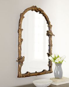 """""""Plaza Arch"""" Mirror at Horchow--seriously may die.  I LOVE birds.  Does someone need to talk me out of this for my powder room?  Given the bold floral wallpaper, maybe?????"""