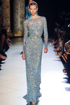 Blue See-Thru Lace, Floor length, long sleeve dress   Elie Saab Fall 2012   Runway