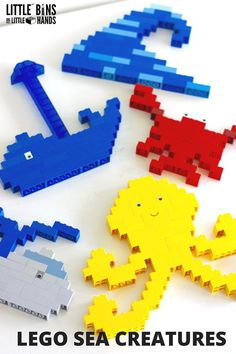 LEGO ocean animals building activity with basic bricks. LEGO ocean theme or under the sea activity for young kids. Basic bricks building ideas are perfect for all ages.