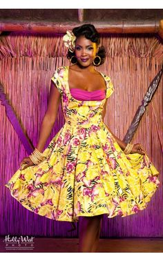 Pleated Bust Hawaiian Dress with Contrast Bust in Baton Rouge